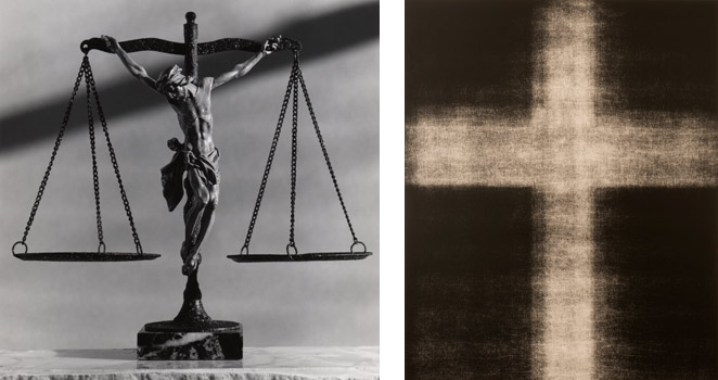 "(L)  Christ on Scale , 1991; Gelatin silver print; 24 x 20"" (61 x 50.8cm); Edition of 10, 2 AP (R)  Untitled, No. 941 , 2008; Gelatin silver lith print; 24 x 20"" (61 x 50.8cm); unique"