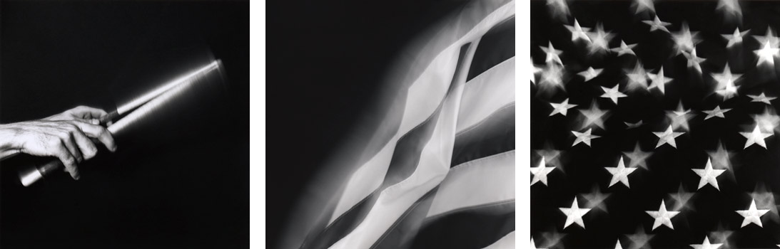 "(L) Hands , 1987. Gelatin silver print; 20 x 16"" (50.8 x 40.6cm); Edition of 10, 2 AP (C) American Flag , 1994. Gelatin silver print; 24 x 20"" (61 x 50.8cm); Edition of 5, 1 AP (R) Stars , 1994. Gelatin silver print; 24 x 20"" (61 x 50.8cm); Edition of 5, 2 AP; also edition of 5: 28 x 28"" (71.12 x 71.12cm)"