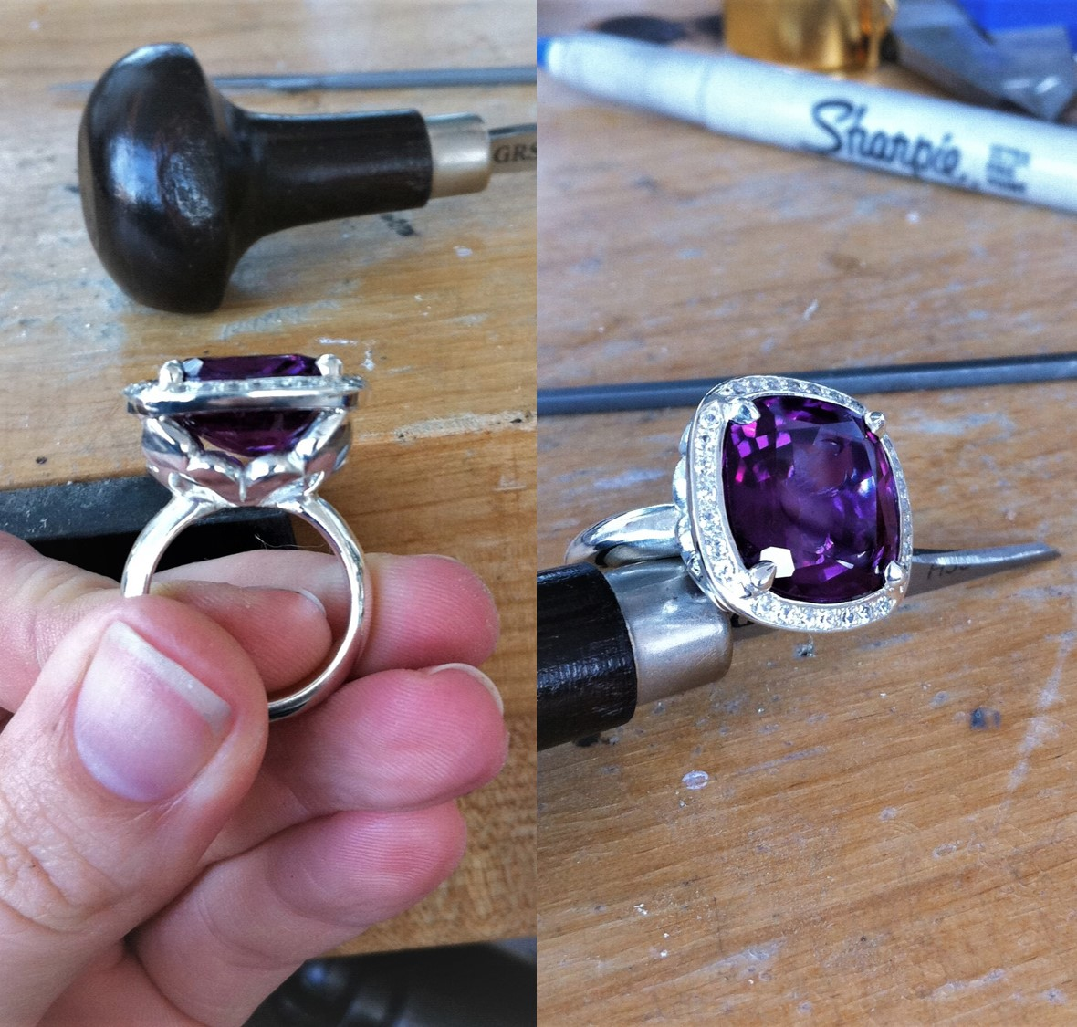 The finished ring, with bright cut pave halo.