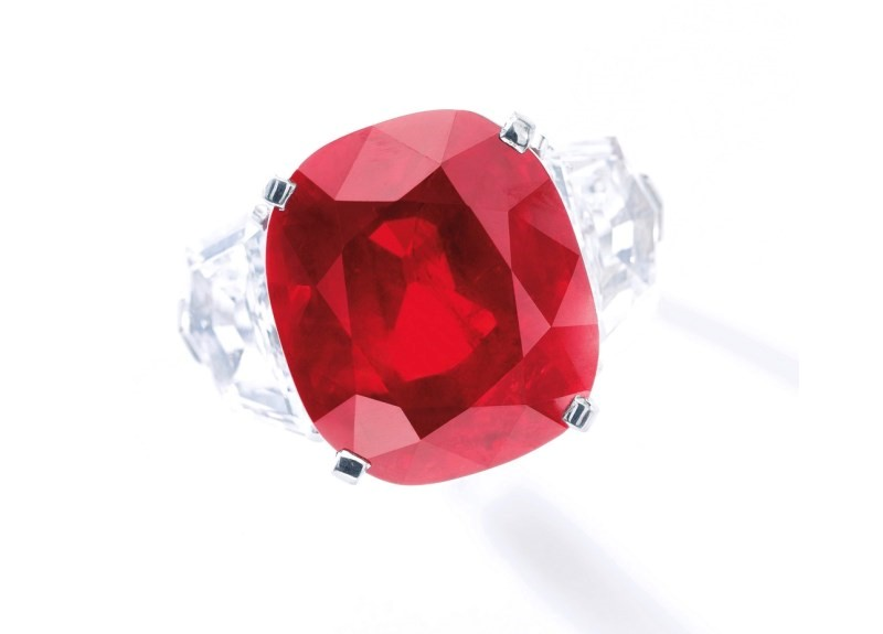 The Sunrise Ruby – A 25.59-carat Mogok Burmese Ruby and Diamond Ring, by Cartier – the most expensive ruby ever sold at auction. Photo credit: Sotherby's