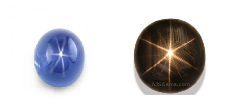 A beautiful blue star sapphire with a valuable combination of clarity and colour together with a distinct star effect. Photo credit: thenaturalsapphirecompany.com  The star effect in a golden star sapphire, is caused by needle like inclusions of the mineral hematite. This stunning example has a very distinct star effect, the black bodycolour however is much less valuable than the blue variety. Photo credit: ajsgems.com