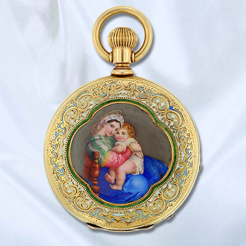 Ladies Pocket watch with Painted enamel by Tiffany & Co, image courtesy of  Lang Antiques