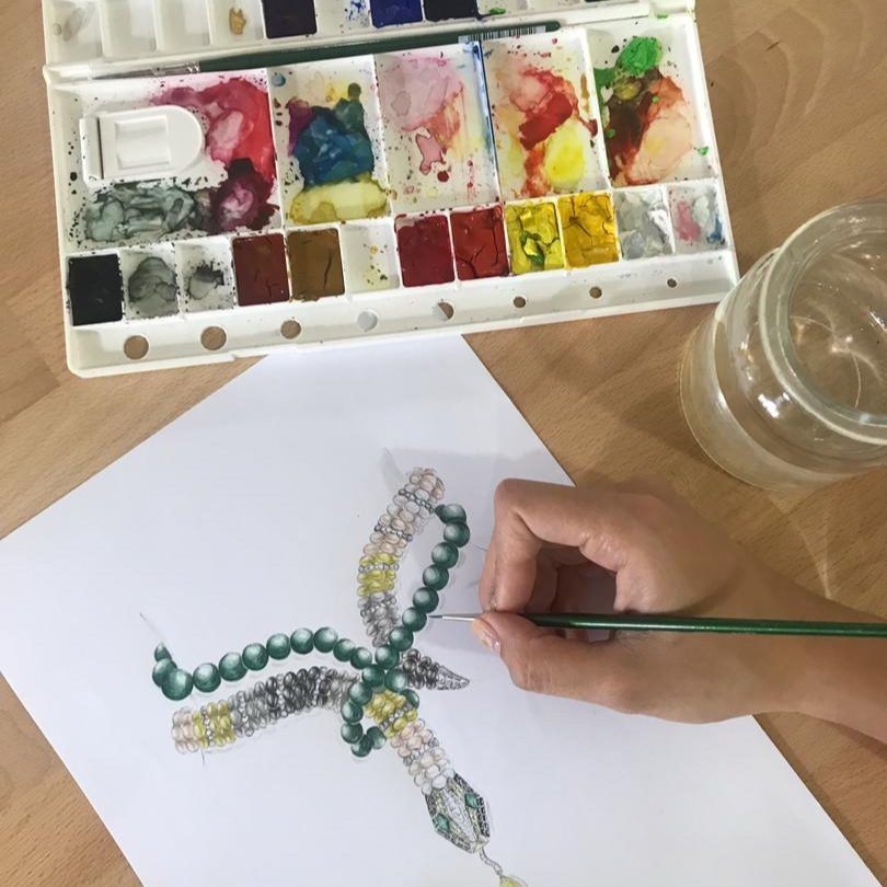 Jewellery Design Level 1 - 6-week course covers drawing and rendering metals and gemstones using coloured pencils