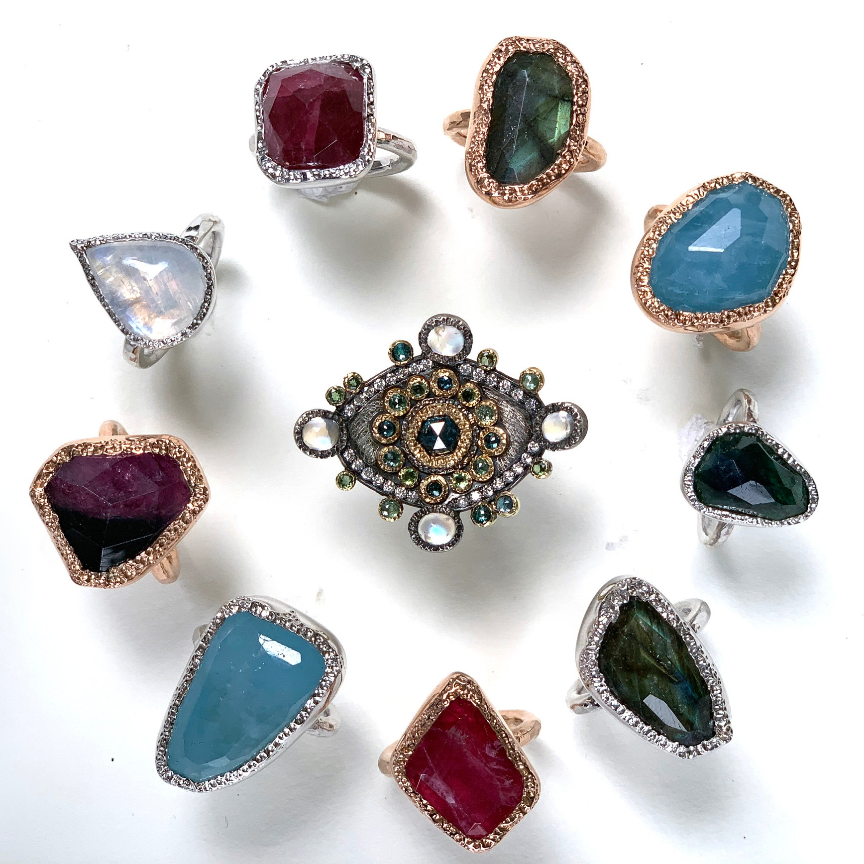 Stone Setting Fancy Bezels - Learn to make chunky textured bezels, jump ring bezels and cut down bezels