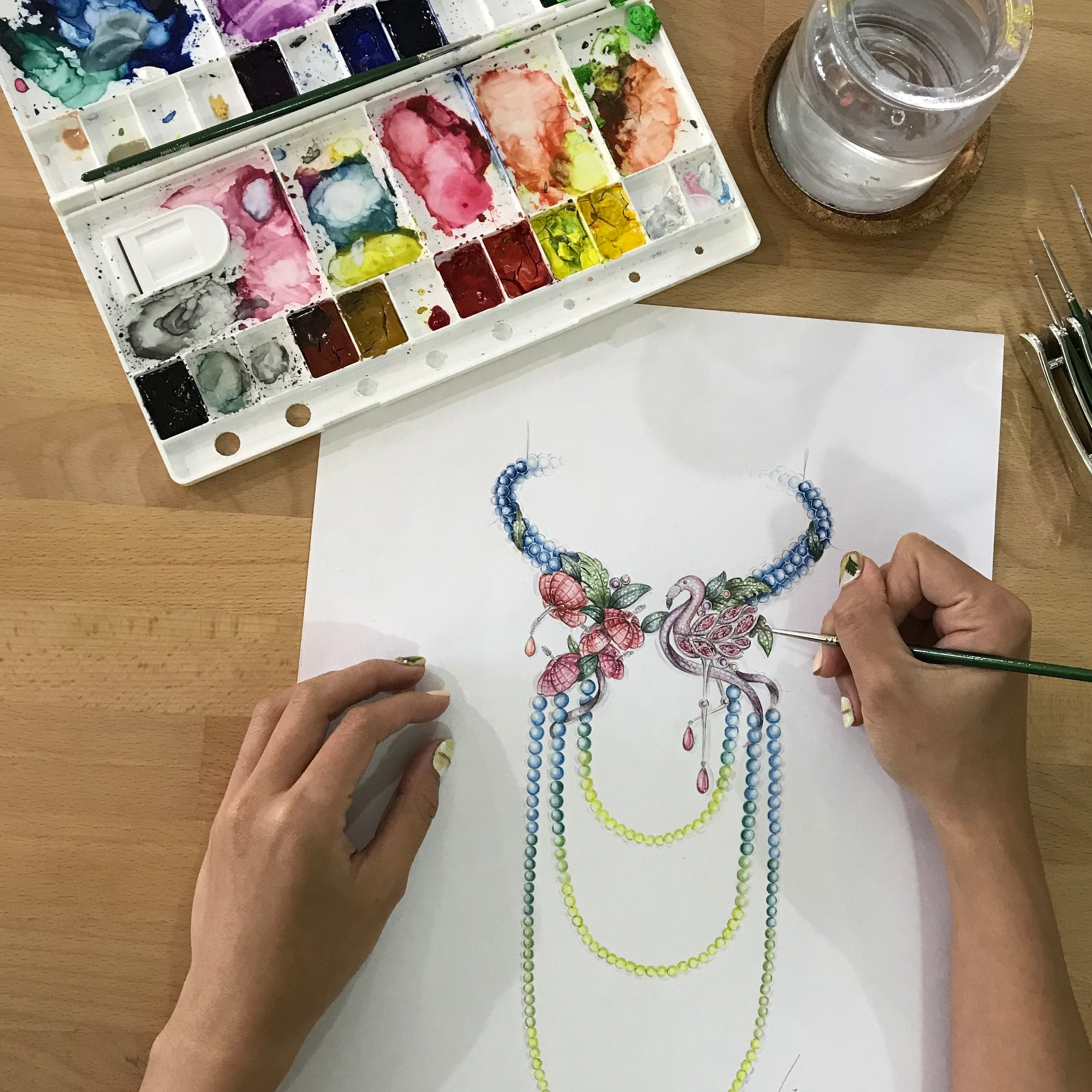 Jewellery Design and Rendering Level 2 - This 6-day course covers drawing in perspective and rendering with watercolour