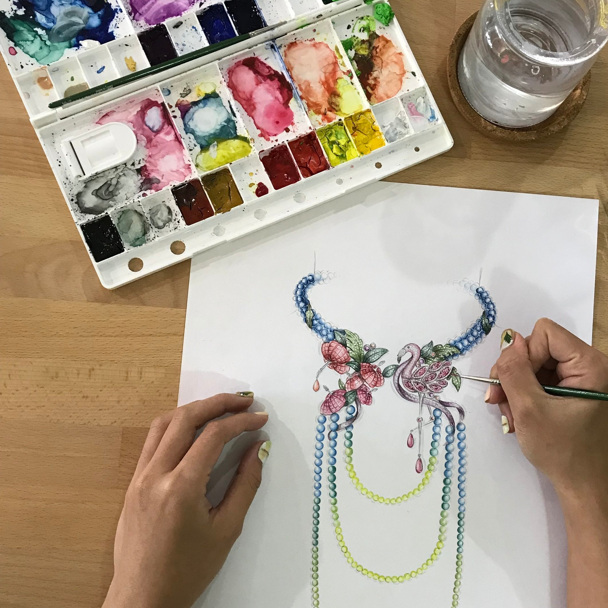 Jewellery Design Level 2 - This 6- day class covers drawing in perspective and rendering with watercolour to create life-like jewellery designs
