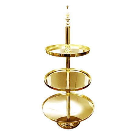 LUXE GOLD 3 TIER TIERED STAND - 2 x available for hireDimensions : 94cm High | 30cm - 25cm - 20cm Diameter