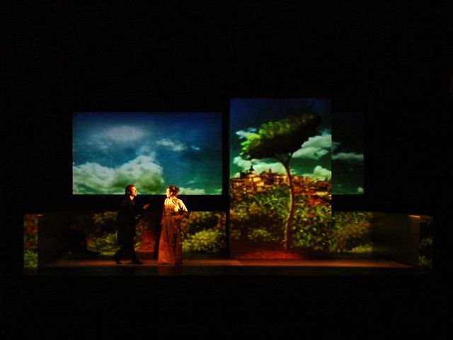 """Mapped Video Projections for the Play """"La Celestina"""" by   Fernando de Rojas  .   Scenographer:  Horacio Pigozzi    Director:  Daniel Suarez Marzal    Teatro Regio - Buenos Aires"""