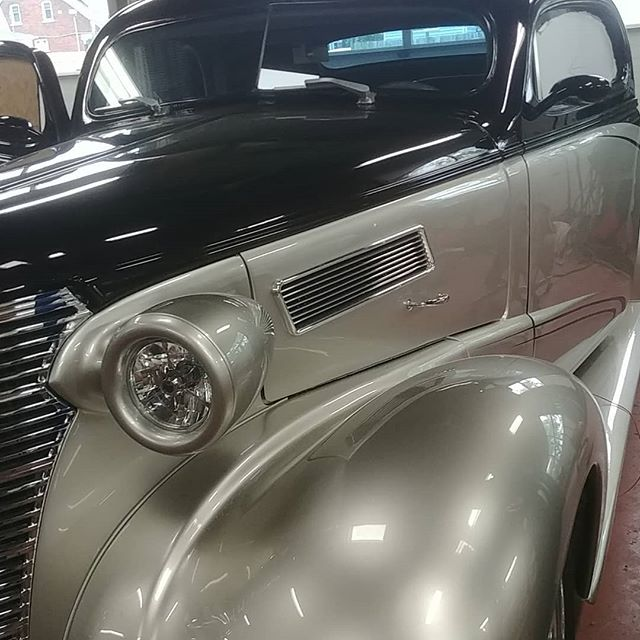 Customer just had his car painted and we are fitting new one piece glass in the front doors. We are trying something new, its tinted acrylic and was able to have the company curve it to our pattern and follow the door contours. #hotrodshop #streetrod #8noford #chev #1938