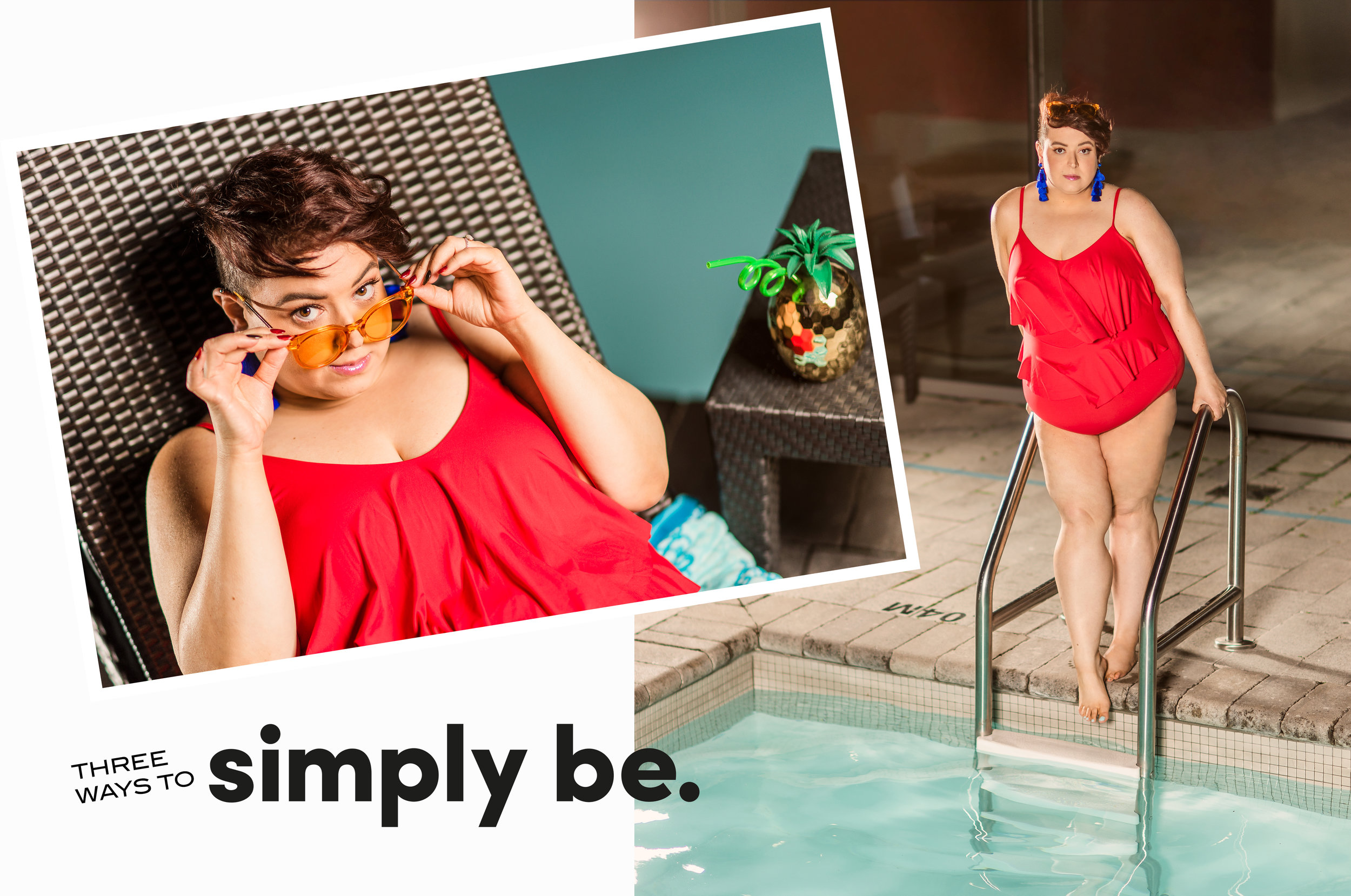 swimsuit  - c/o Simply Be US | glasses - Aldo Accessories | earrings - BaubleBar