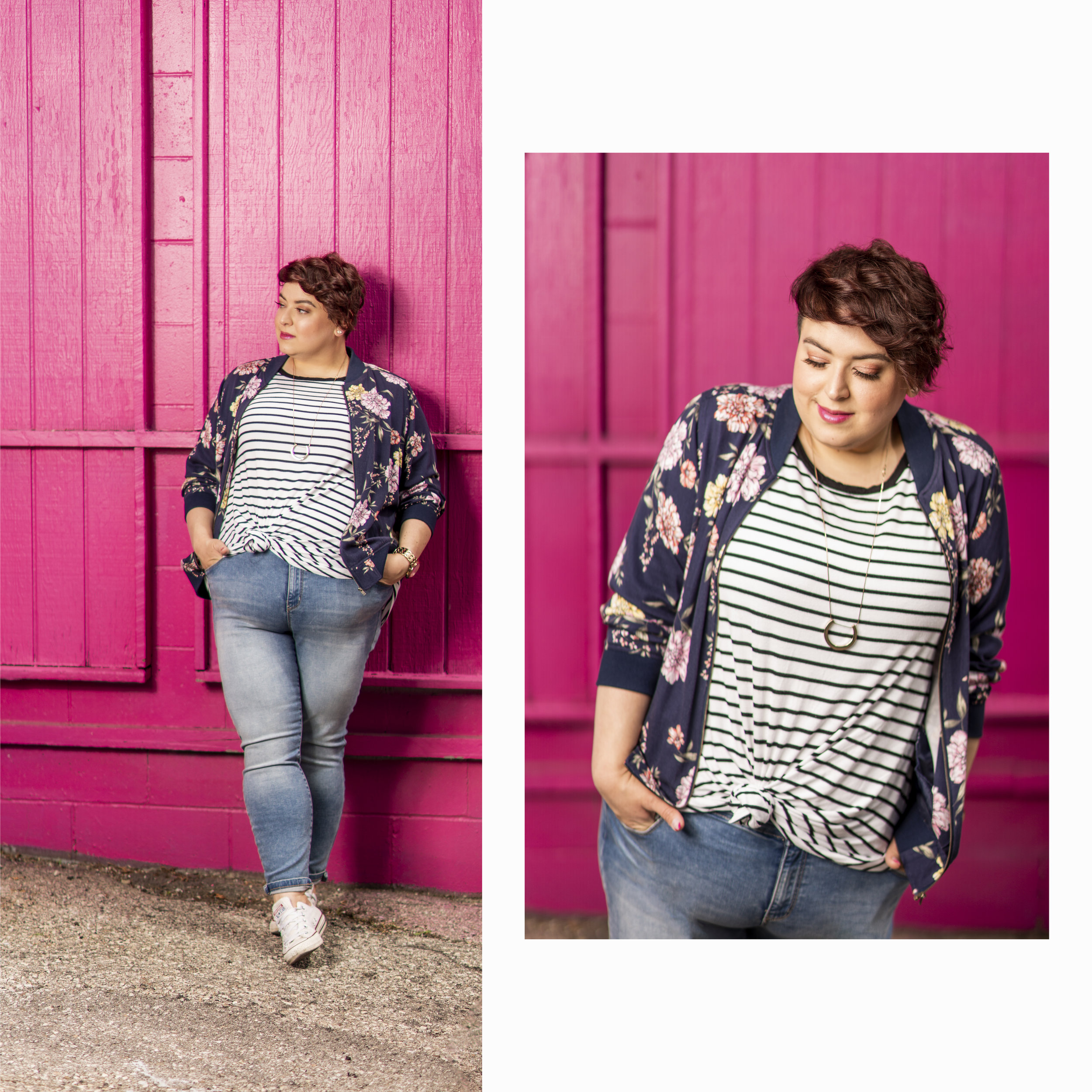 bomber - Torrid  | top - Forever 21+ |  jeans - Reitmans  | shoes - Converse | necklace - H&M | watch - Guess