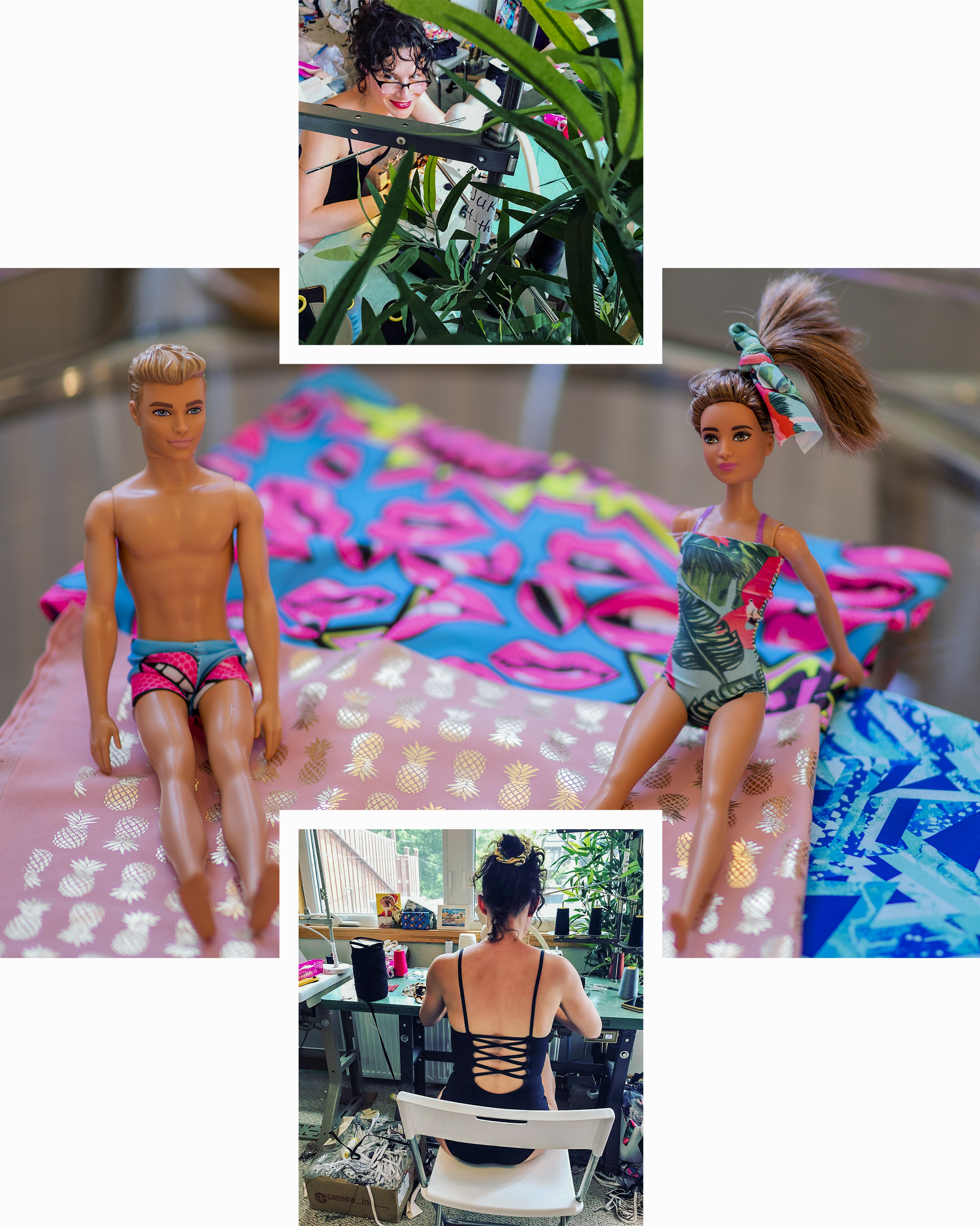 Designer and owner Danica Salajko | Barbie and Ken helping with fabric selection