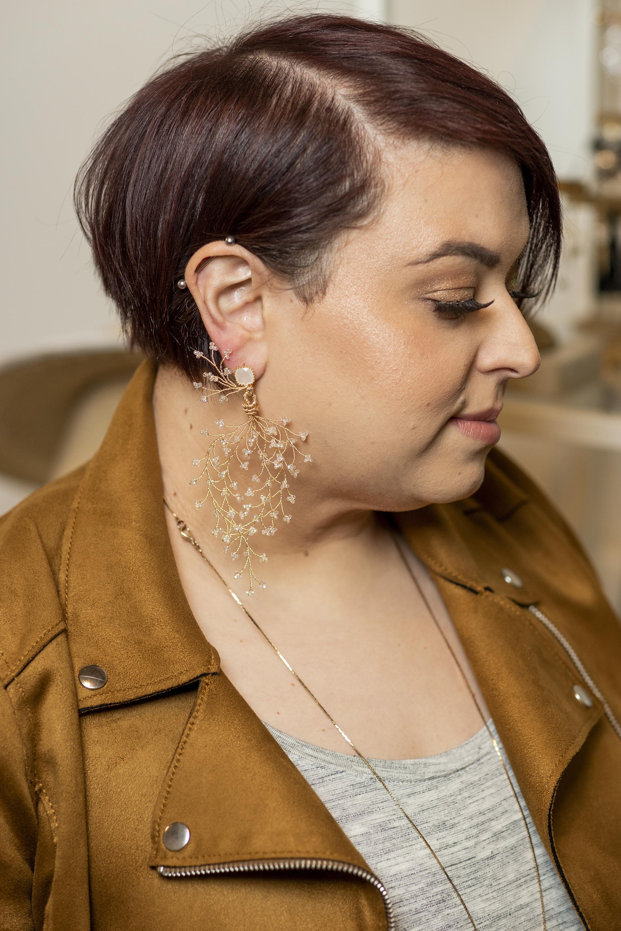 Wearing  Flora Earrings