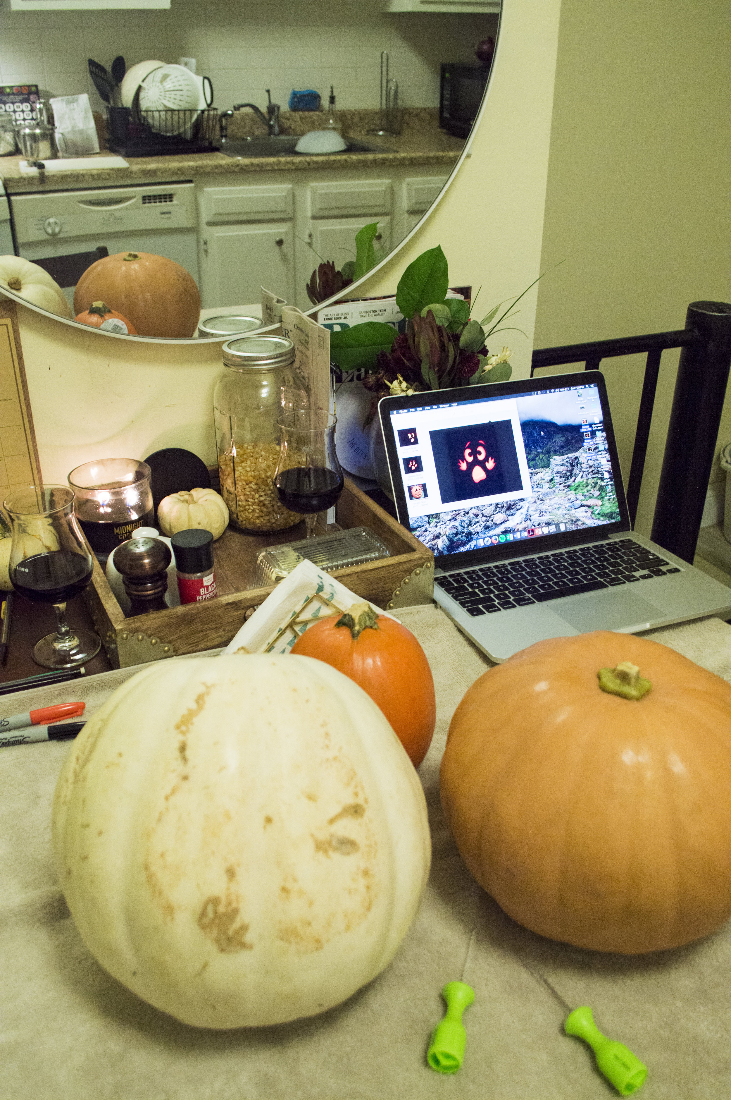 we looked up a few images for some inspiration before drawing our own faces onto our pumpkins