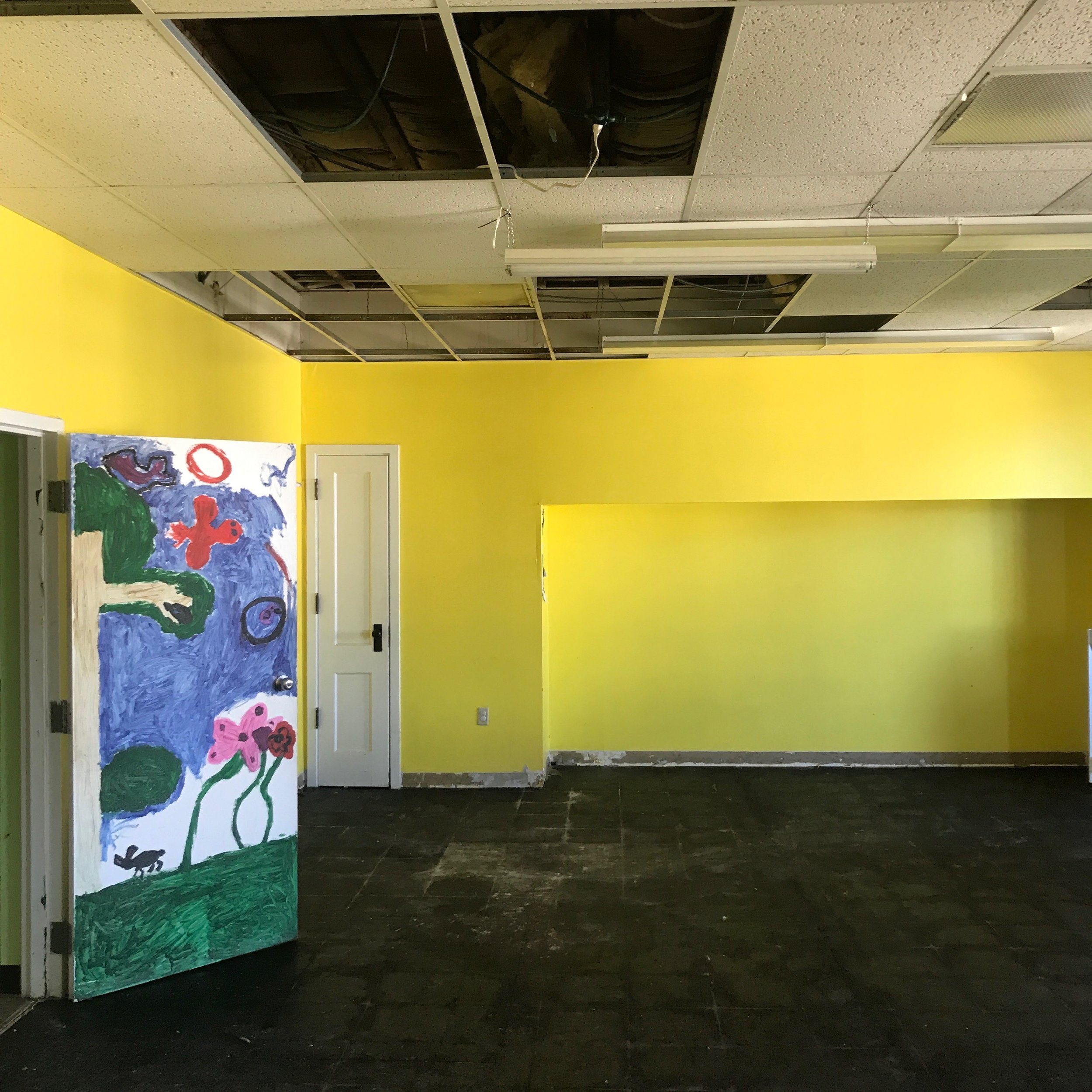 After: Ceiling and floor tiles removed.