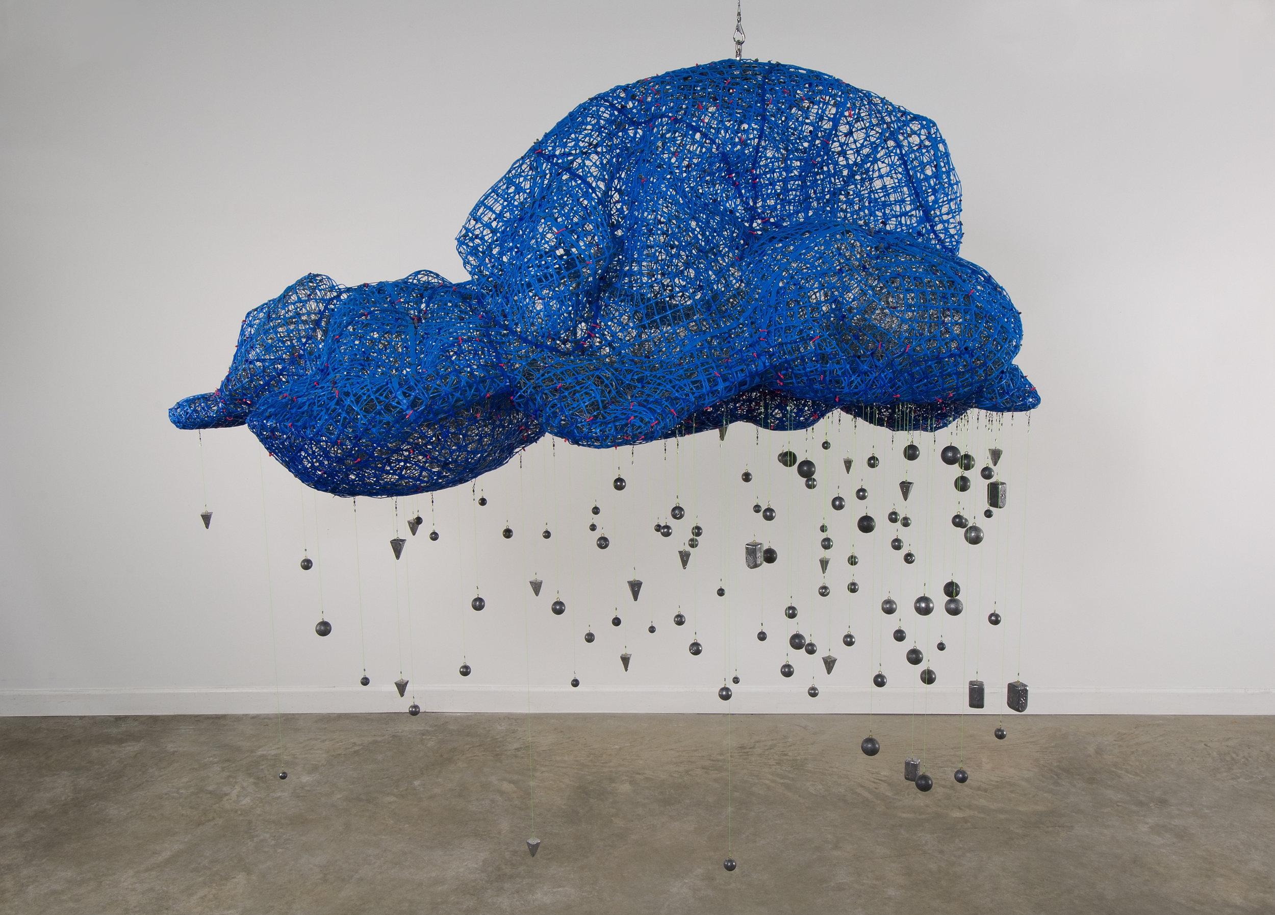 "Brainstorm   2010  plastic and metal fencing, lead  96 x 96 x 48"""