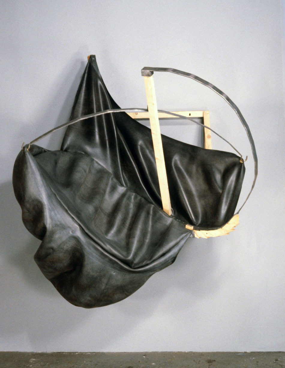 Untitled 89.2   1989  rubber, wood and steel  39 X 40 X 45""