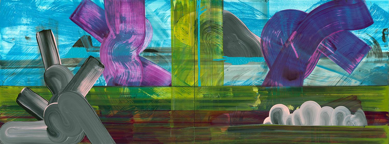 """Architectural 'scape   2013  acrylic  18 X 48"""""""