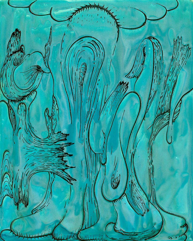 "Turquoise Drip   2015  acrylic  20 X 16"""