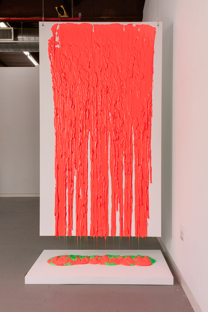 Putty Installation #1, Hot Pink _Lime Yellow   2018  silicone putty  92 X 50 X 31.5""