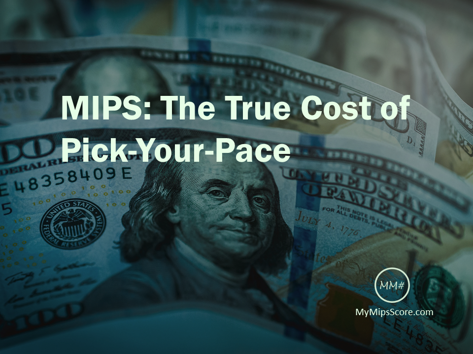 Understand how much incentive money you would be giving up by using the  One Patient, One Measure  option, before you make that decision. Download the MyMipsScore App to figure out what the numbers would like for your practice.