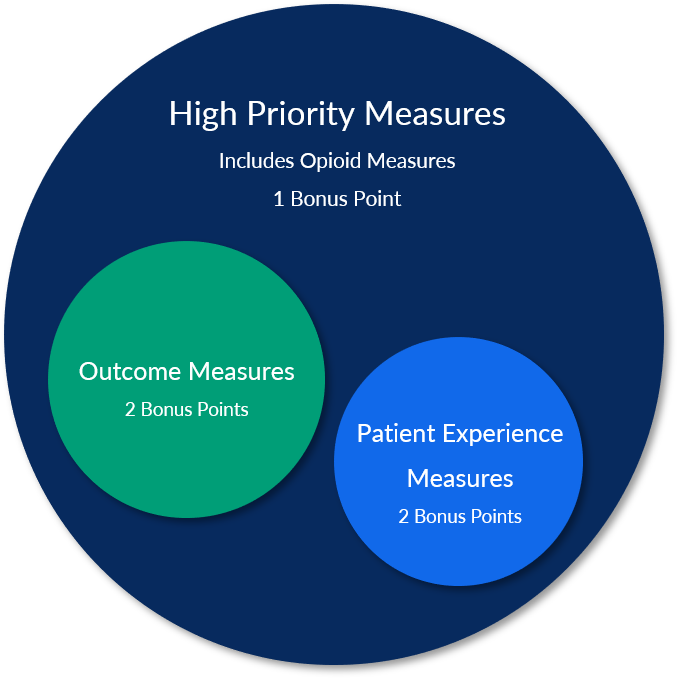 Patient Experience Measures and Outcome measures are special types of High Priority measures that earn 2 bonus points instead of just 1 bonus point for other High Priority measures.
