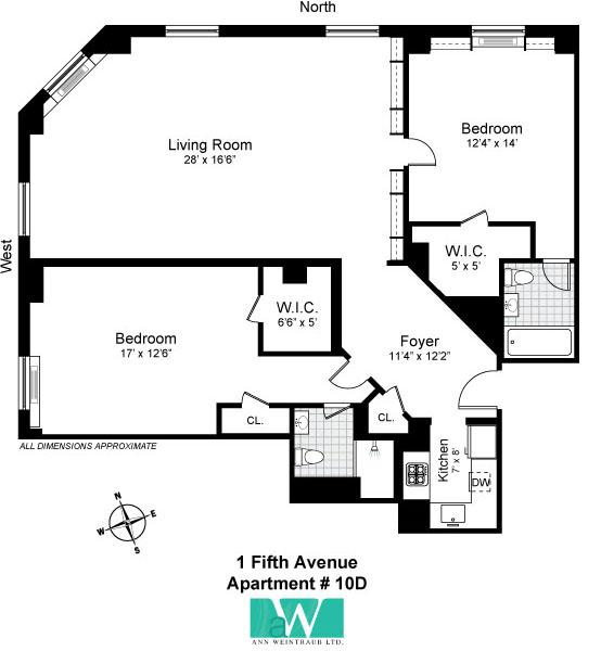 One Fifth Avenue Apt. 10D Floor Plan
