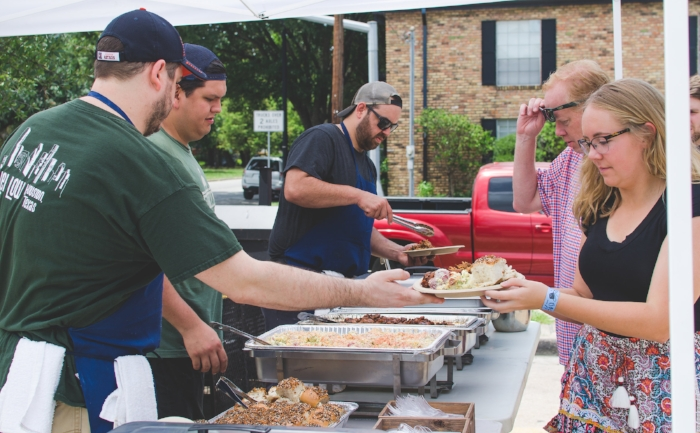 An outdoor catered event at Revival Market.