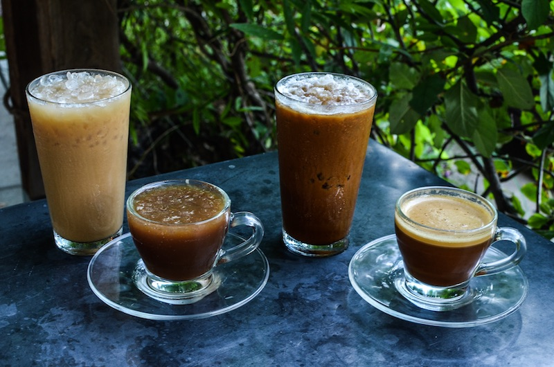 LTR: Iced Lavender Latte, Italian Iced Coffee Sour, New Orleans Iced Coffee and Bullet Proof