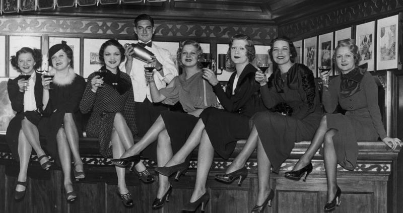 Ladies enjoying cocktails post-Prohibition.