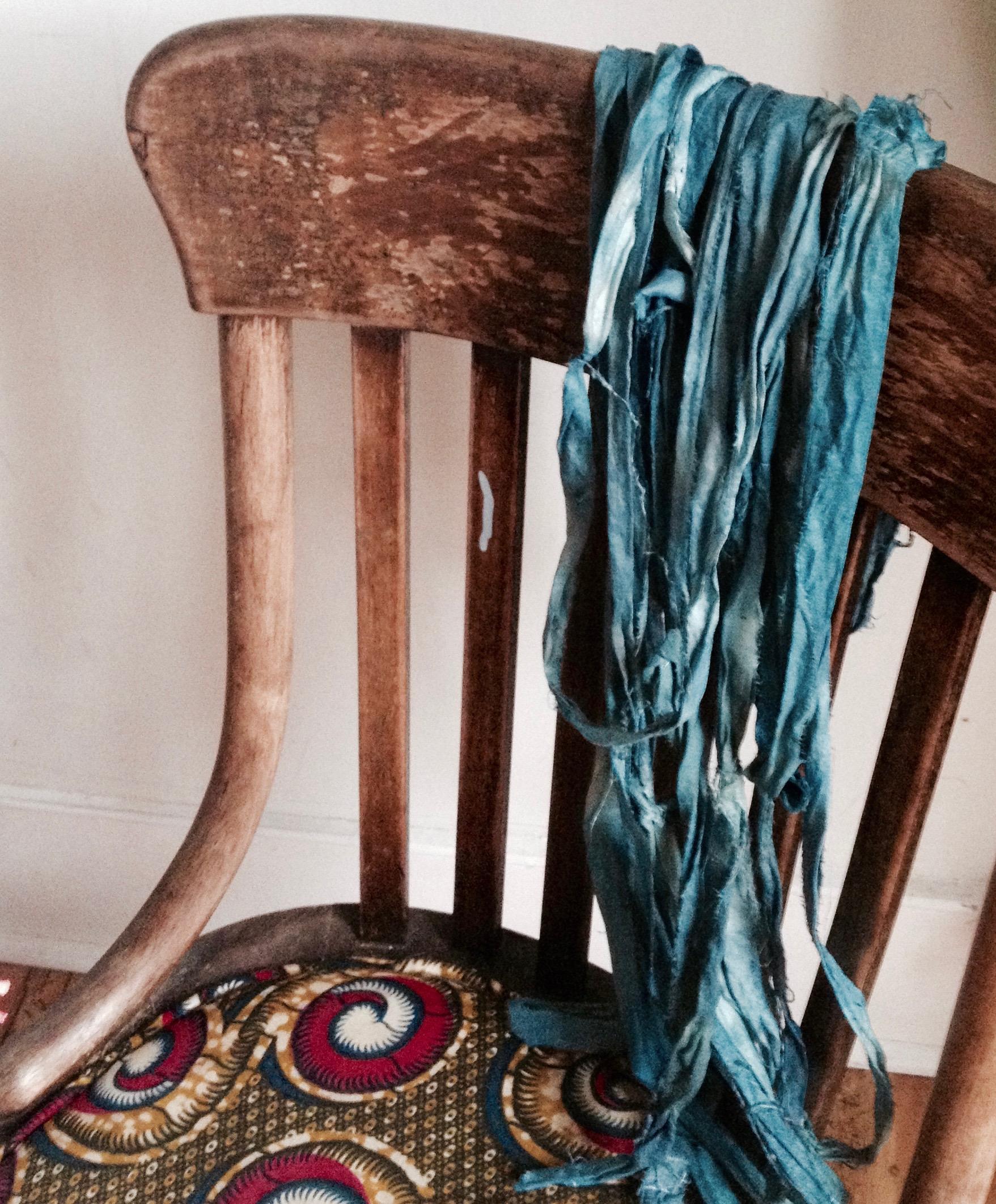 sari silk from the woad vat