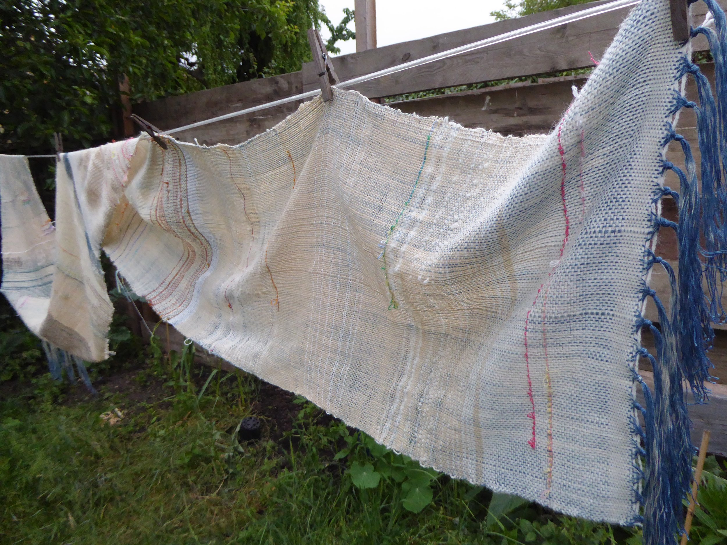 COT WEAVE, hand dyed indigo threads showing through