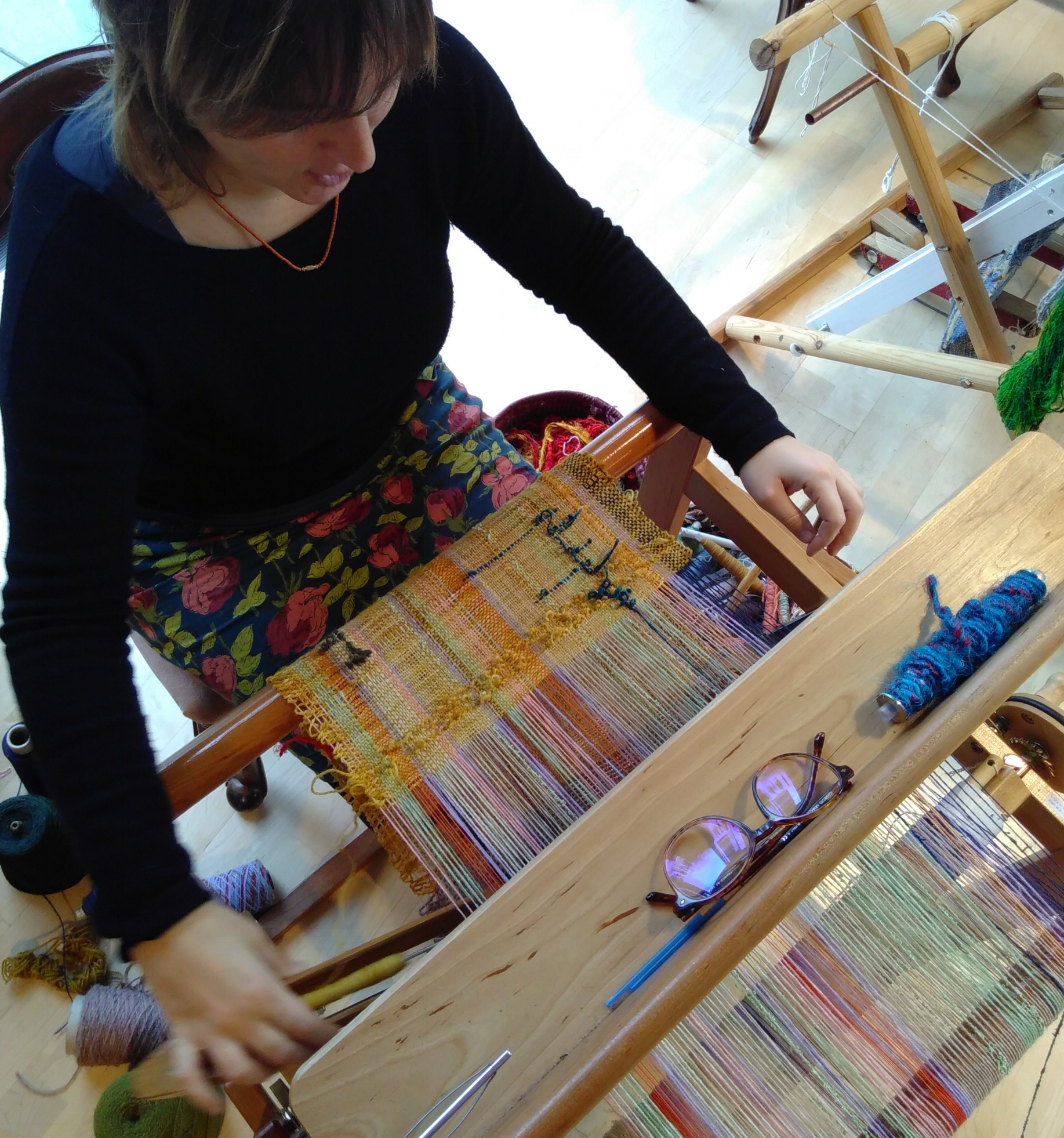 Picture taken at last year January's weaving session at Poplar Union Arts Centre.