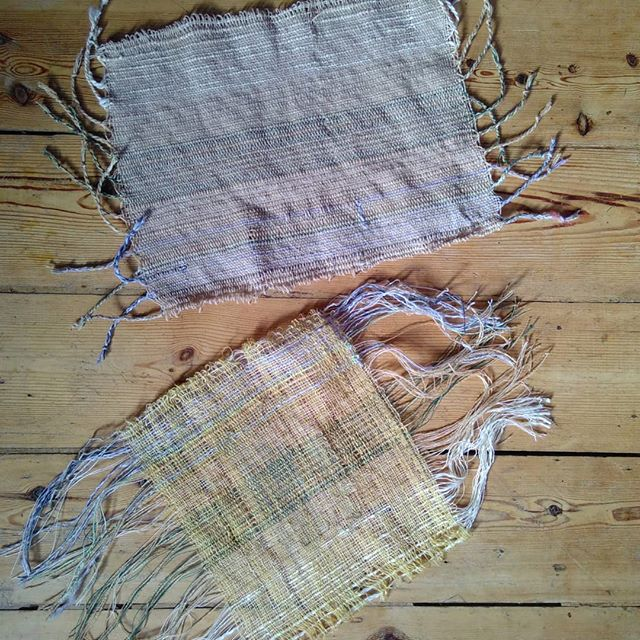Super sunny delicate weaving at our home with @emilymasle and Flori! #firsttimeweavers #saoriweaving #springweaving #growyourown #supersunday