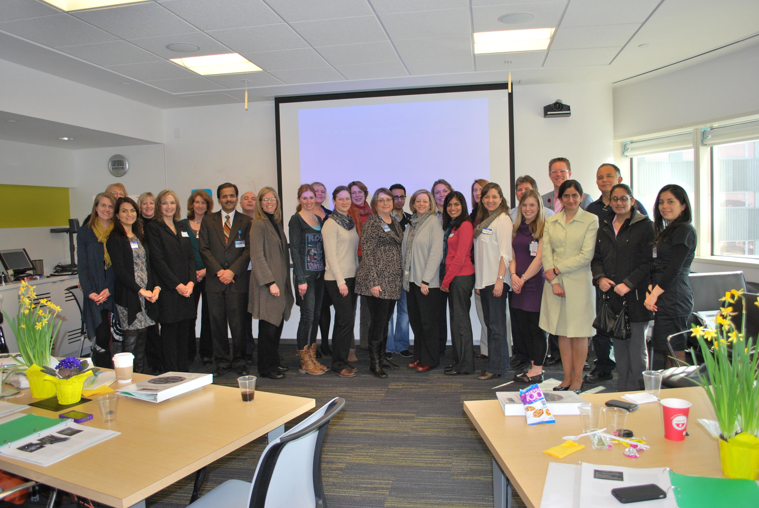 First participants from Attention Interpretation Therapy class (Dr. Amit Sood and Linda near the left)
