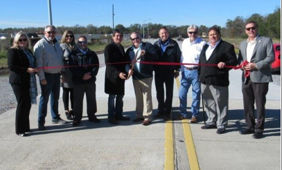 From Left to Right: Stephanie Brüning (SCPDC); Philip Chauvin (T.B. Smith); Amber Plessala (T. B. Smith), David Rabalais (Port Executive Director), Al Marmande (Parish Councilman), Eddie Rome (Port Commissioner), Andrew Blanchard (Port Commissioner), Dan Davis (Port Commissioner), Gordy Dove (Parish President), Pat Gordon (SCPDC)