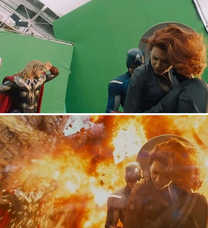 green screen movie production example - avengers