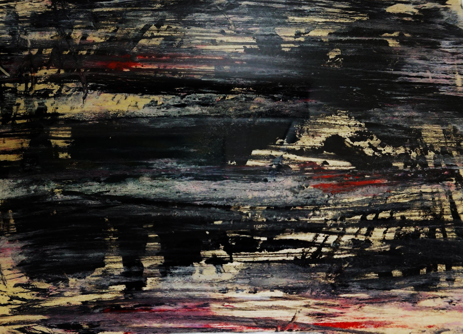 Press Mess /   Materials:  Pulled oil paint and printing ink with palette knife
