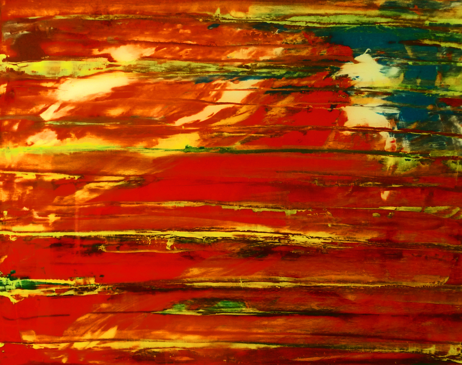 Orange and Green / Materials: P ulled oil paint with palette knife and trowel