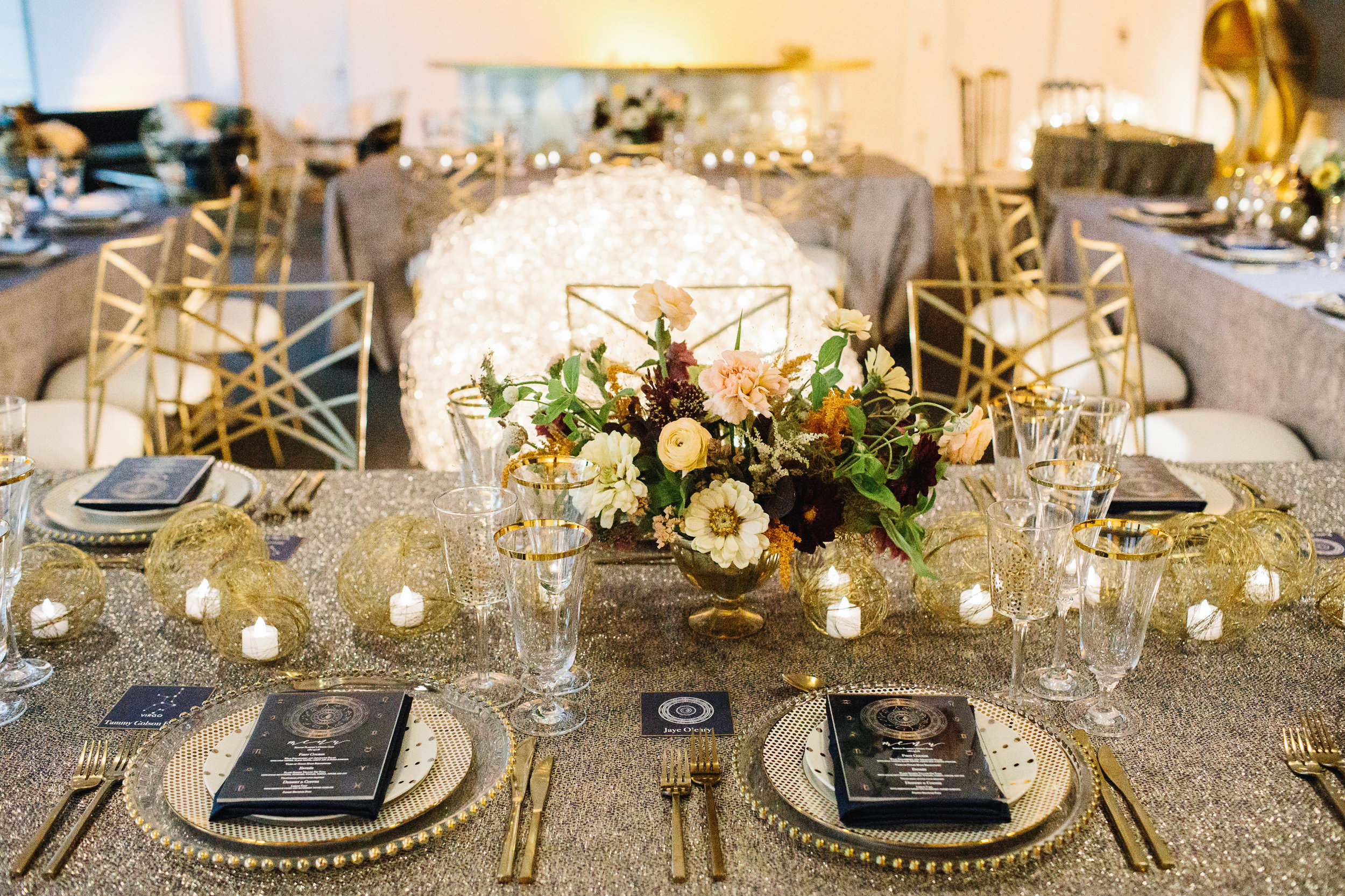 Rentals by PEAK Event Services, Flowers by Sweet Annie Floral, Menus and Place cards by Simply B, and Lighting by Suzanne B Lowell.  Photo by Lindsay Hite Photography .