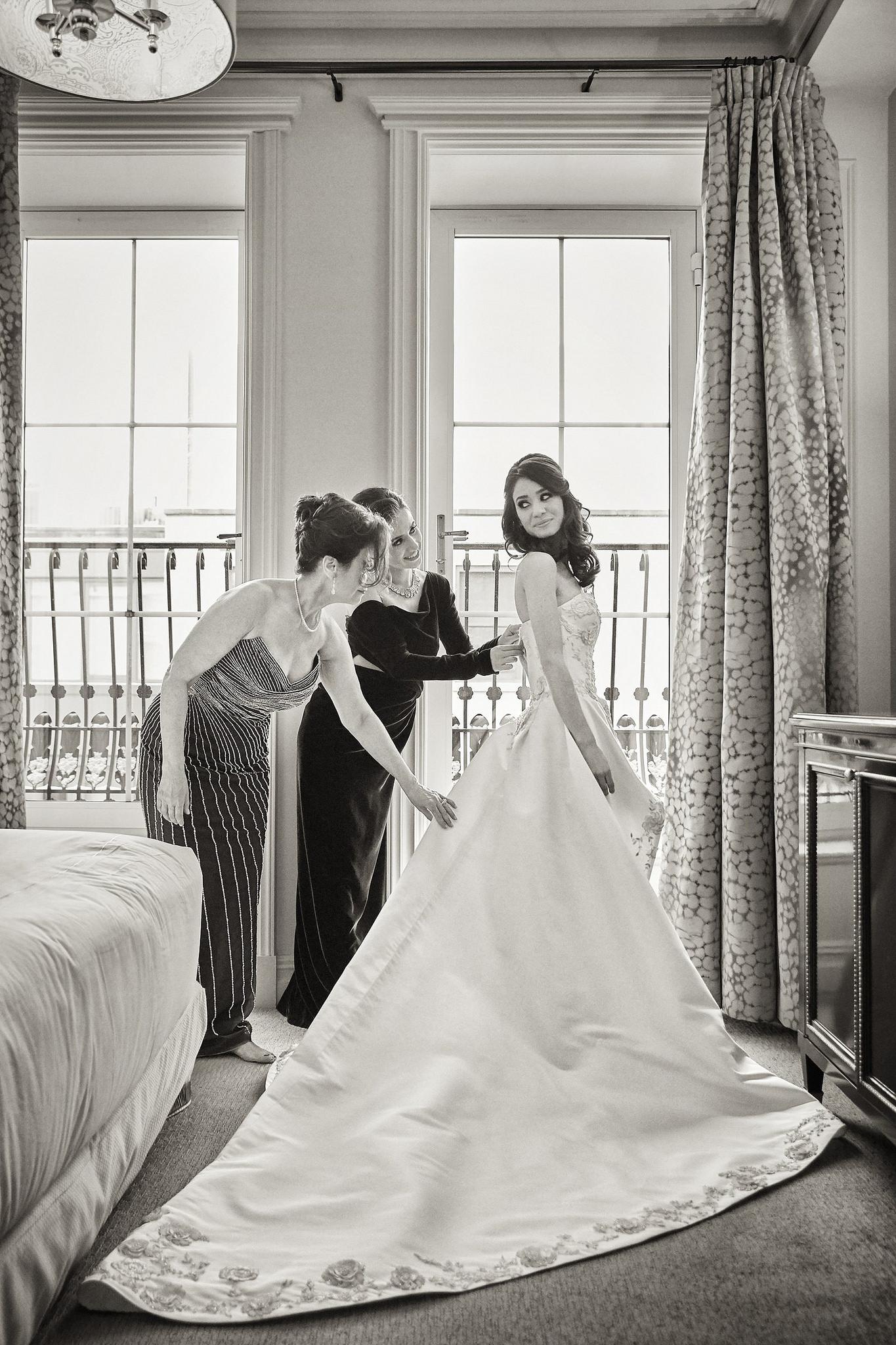 Bride in custom gown by Cristina Ottaviano