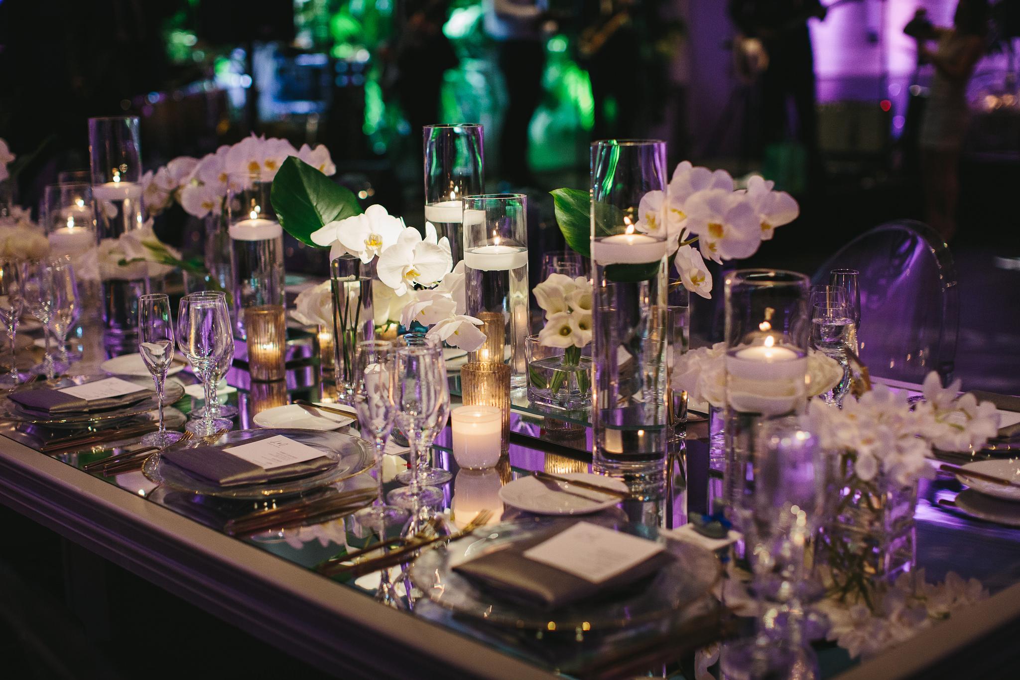 Mirror top table wedding
