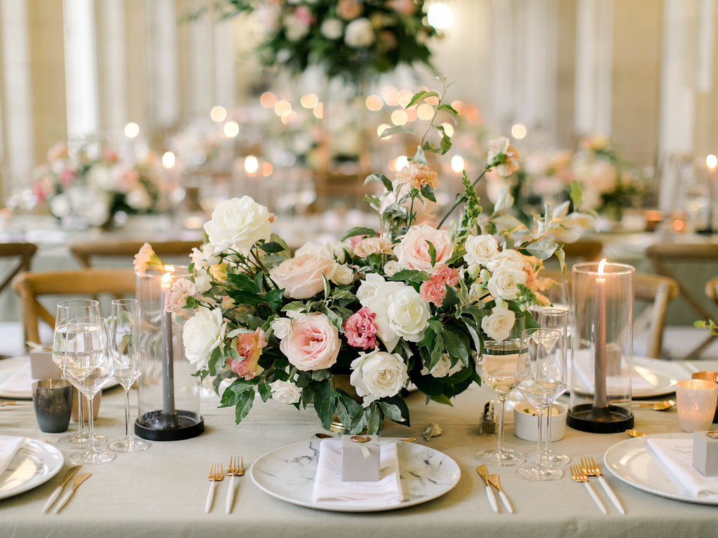 Blush and Grey wedding Centerpiece