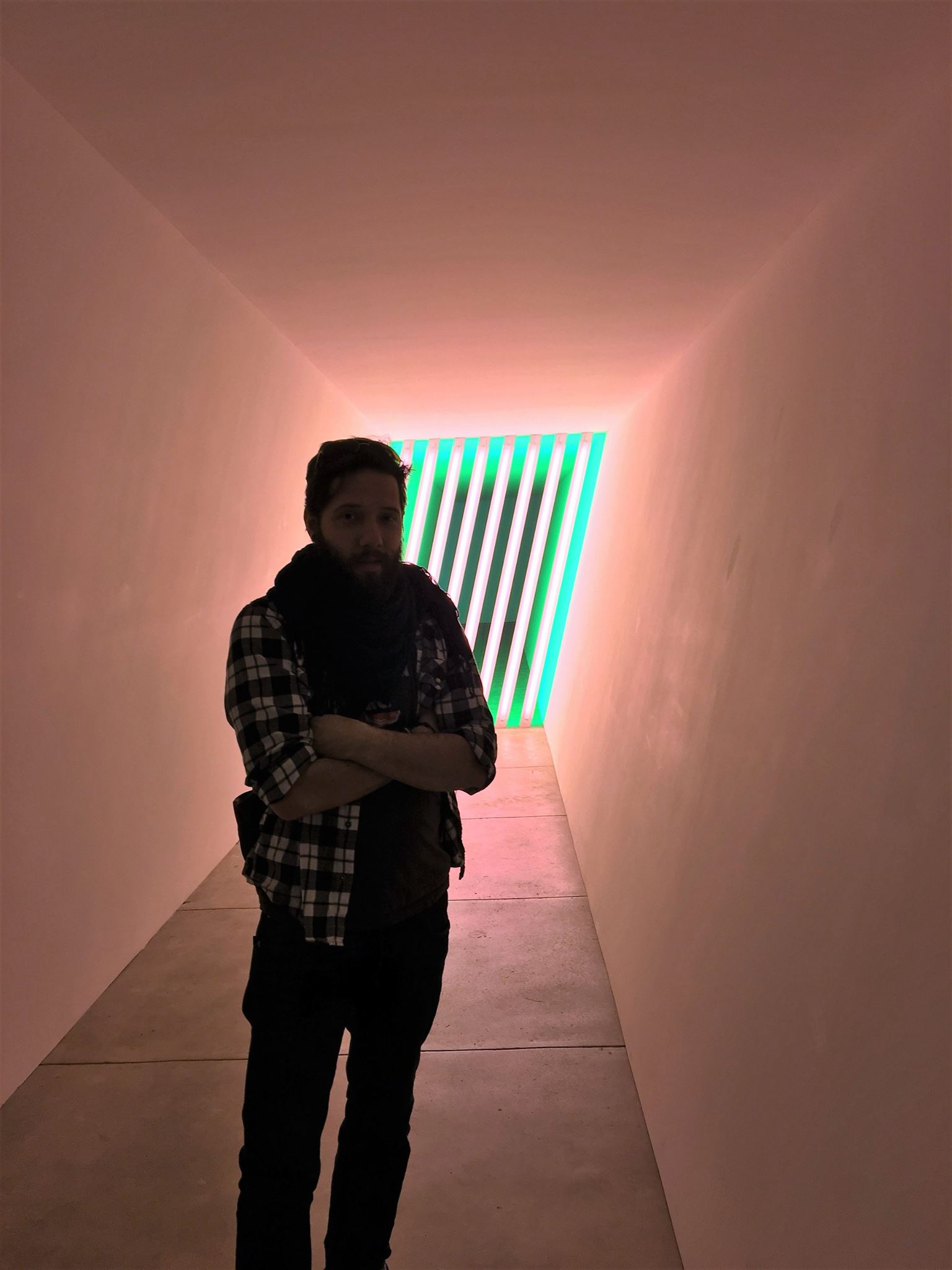 In Marfa, Texas with a Dan Flavin work.  Photo courtesy of Vanessa Murray