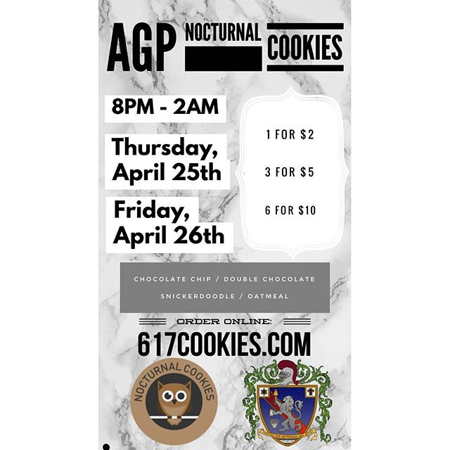 Don't forget to order cookies from 617Cookies.com tonight and tomorrow! Venmo and Cash accepted!