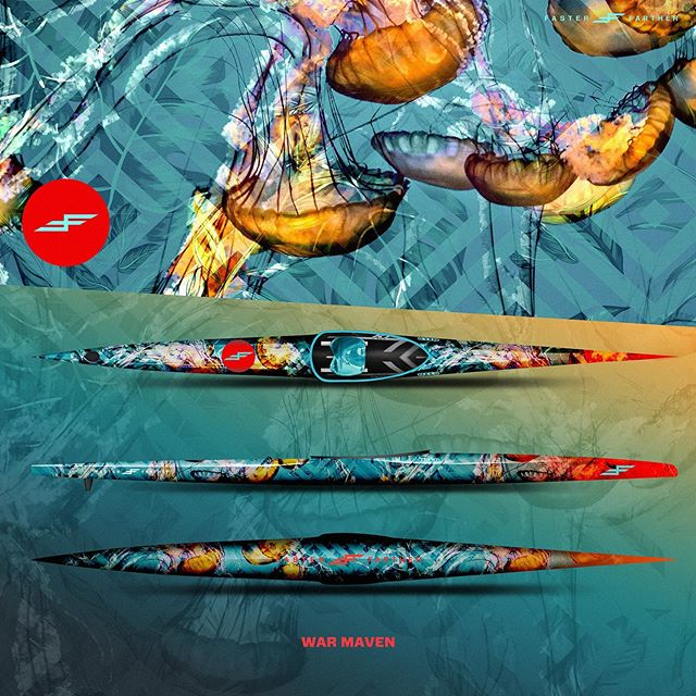 Let your presence be felt... . . . . . . . . . .#seanettle #fasterfarther #icfk1 #nelosete #sete #nelo #canoesprint #oceanart #watersports #oceansports #surfart #kayak #kayaking #surfski #outrigger #oc1 #design