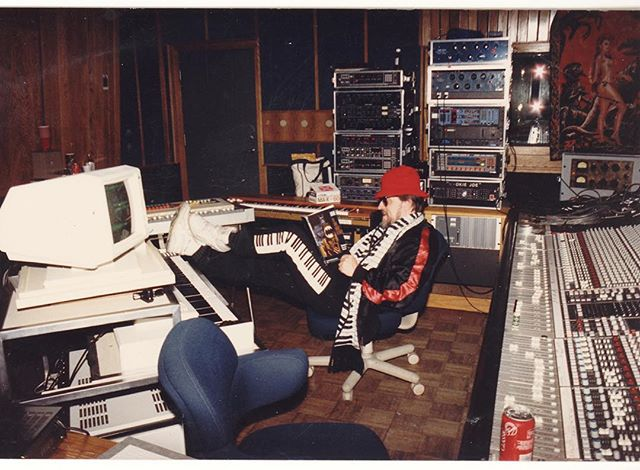 "Throwback to Studio B with Jim Dickinson and a whole lot of ""stuff""... a Fairlight, Fairchild, UA 176, Pultec EQ, Quantec Reverb, AMS RMX Reverb... and a Coca Cola on the console!! 😧 #pianopants"