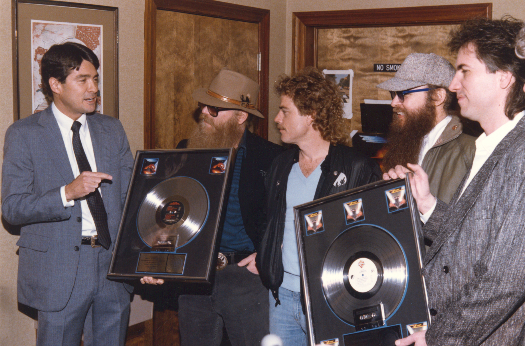 Ardent - John Fry presenting ZZ Top with Platinum records for their albums  Eliminator  and  Afterburner. L-R John Fry, Dusty Hill, Frank Beard, Billy Gibbons, and Joe HArdy (engineer, producer)