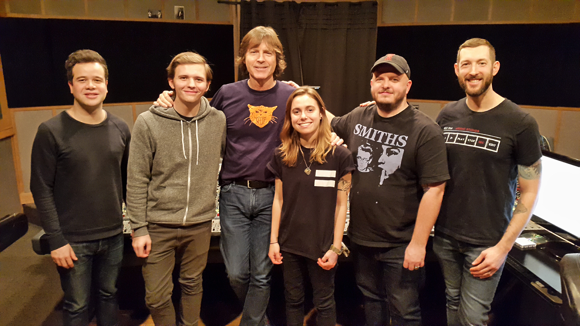Studio A: Robby Morris (Matador A&R), Calvin Lauber (engineer), Jody Stephens, Julien Baker, Sean Rhorer (manager, Brixton Agency) and Ryan Wiley (Ardent's General Manager)
