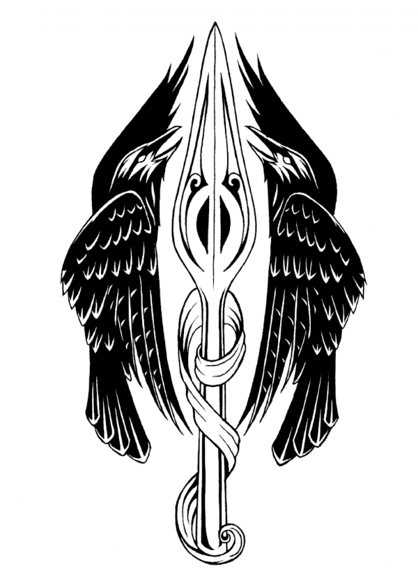 The Order of the Crows Logo. Two crows and a spear by Morpheus Ravenna